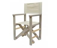 Chaise metteur en scène personnalisée en bois teinte taupe - TIPIHOME- Bleu Griotte