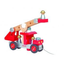 Camion pompier - Jouet premier âge JANOD - Bleu Griotte