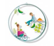 Mobile Cerceau scène La princesse petits po L'oiseau Bateau - Bleu Griotte