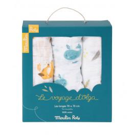 Set de 3 langes imprimés renards/baleines/plumes Le voyage d'Olga Moulin Roty - Bleu Griotte