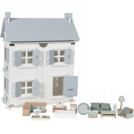 Maison de poupée Bleue  en bois - LITTLE DUTCH - Bleu Griotte