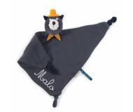 Doudou lange chat gris clair brodé au prénom Les Moustaches Moulin Roty - BleuGriotte