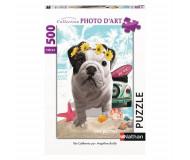 Puzzle chien Téo California 500 pièces Nathan - Bleu Griotte