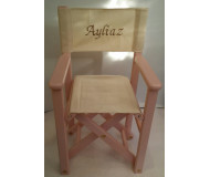 Chaise metteur en scène personnalisée en bois teinte rose - TIPIHOME- Bleu Griotte