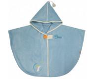 Cape de bain Renard bleu orage personnalisée, brodée au prénom - L'OISEAU BATEAU - Bleu Griotte