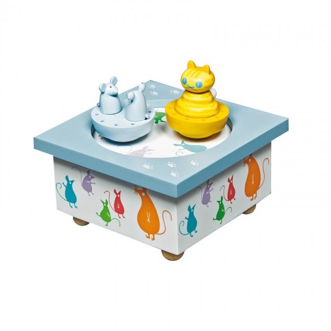 boite a musique bois chat souris en bois trousselier bleu. Black Bedroom Furniture Sets. Home Design Ideas