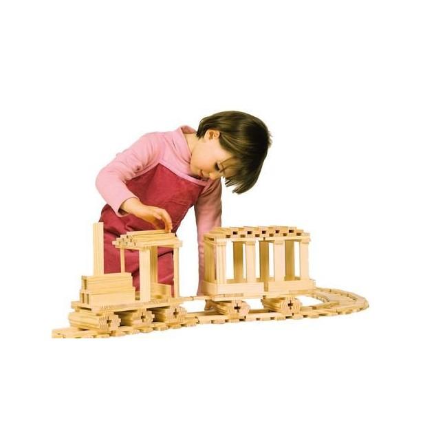 Achat kapla 200 planchettes en bois jeux de construction bleu griotte for Livre construction bois