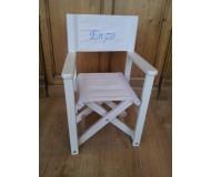 Chaise metteur en scène personnalisée en bois lazurée blanche - TIPIHOME- Bleu Griotte